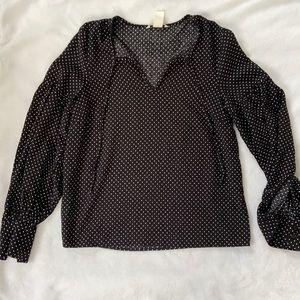 Polka dot ruffled long sleeve blouse